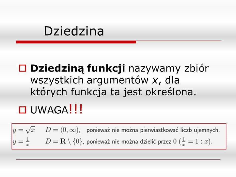 Dziedzina Dziedziną funkcji nazywamy zbiór wszystkich argumentów x, dla których funkcja ta jest określona. UWAGA !!!
