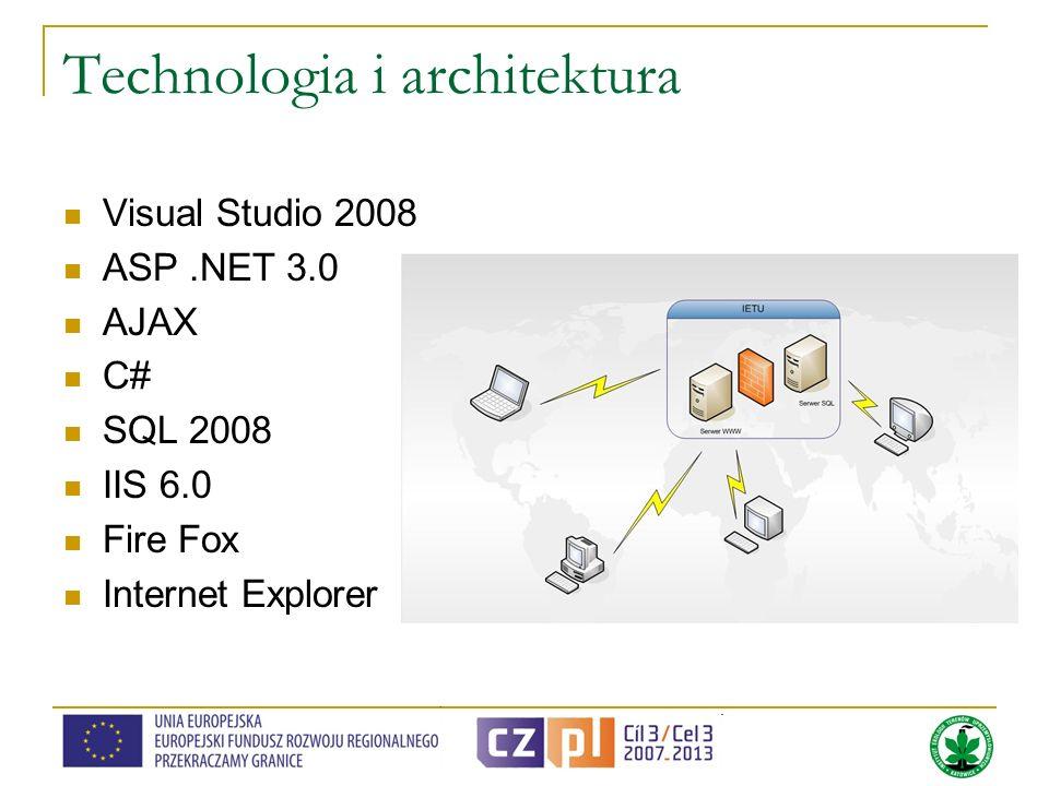 Technologia i architektura Visual Studio 2008 ASP.NET 3.0 AJAX C# SQL 2008 IIS 6.0 Fire Fox Internet Explorer