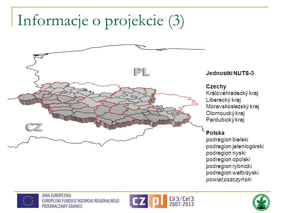 Informacje o projekcie (3) Jednostki NUTS-3 Czechy Královéhradecký kraj Liberecký kraj Moravskoslezský kraj Olomoucký kraj Pardubický kraj Polska podr