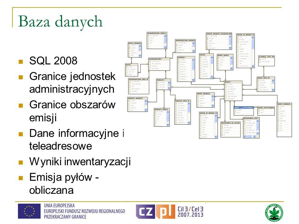 Baza danych SQL 2008 Granice jednostek administracyjnych Granice obszarów emisji Dane informacyjne i teleadresowe Wyniki inwentaryzacji Emisja pyłów -
