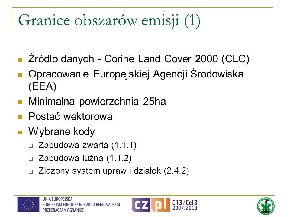 Granice obszarów emisji (1) Źródło danych - Corine Land Cover 2000 (CLC) Opracowanie Europejskiej Agencji Środowiska (EEA) Minimalna powierzchnia 25ha