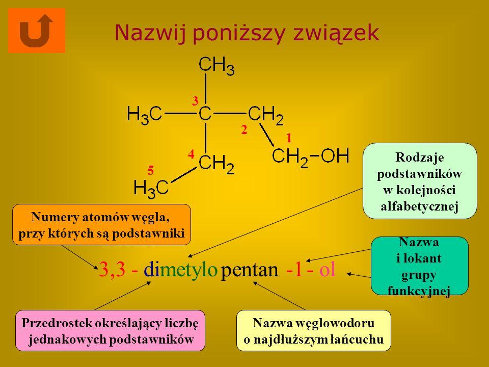Nazwij poniższy związek 3,3 -metylopentan- ol Nazwa węglowodoru o najdłuższym łańcuchu Rodzaje podstawników w kolejności alfabetycznej Numery atomów w