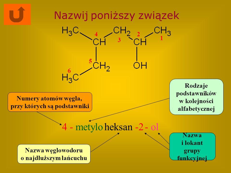 Nazwij poniższy związek 4 -metyloheksan-2- ol Nazwa węglowodoru o najdłuższym łańcuchu Rodzaje podstawników w kolejności alfabetycznej Numery atomów w