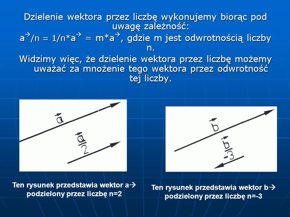 Dzielenie wektora przez liczbę wykonujemy biorąc pod uwagę zależność: a /n = 1/n* a = m*a, gdzie m jest odwrotnością liczby n. Widzimy więc, że dziele
