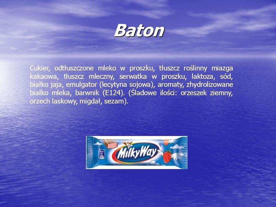 Baton Cukier, odtłuszczone mleko w proszku, tłuszcz roślinny miazga kakaowa, tłuszcz mleczny, serwatka w proszku, laktoza, sód, białko jaja, emulgator