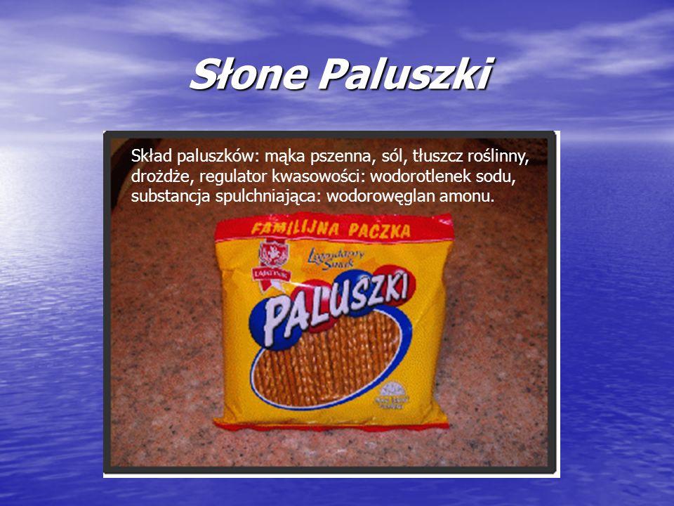 Słone Paluszki Skład paluszków: mąka pszenna, sól, tłuszcz roślinny, drożdże, regulator kwasowości: wodorotlenek sodu, substancja spulchniająca: wodor