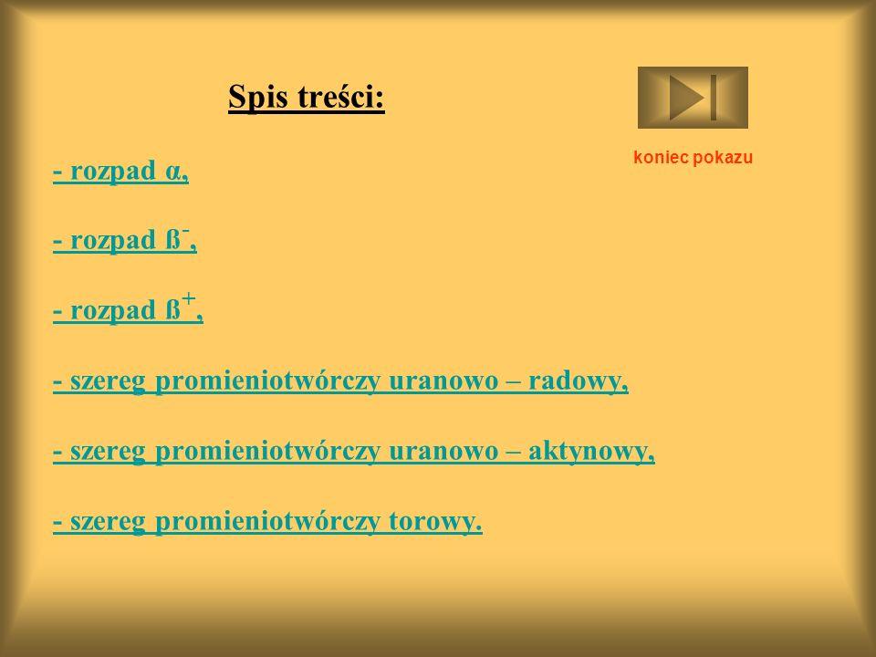 Spis treści: - rozpad α, - rozpad ß -, - rozpad ß +, - szereg promieniotwórczy uranowo – radowy, - szereg promieniotwórczy uranowo – aktynowy, - szereg promieniotwórczy torowy.