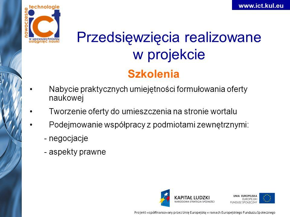 Projekt współfinansowany przez Unię Europejską w ramach Europejskiego Funduszu Społecznego www.ict.kul.eu Przedsięwzięcia realizowane w projekcie Szko