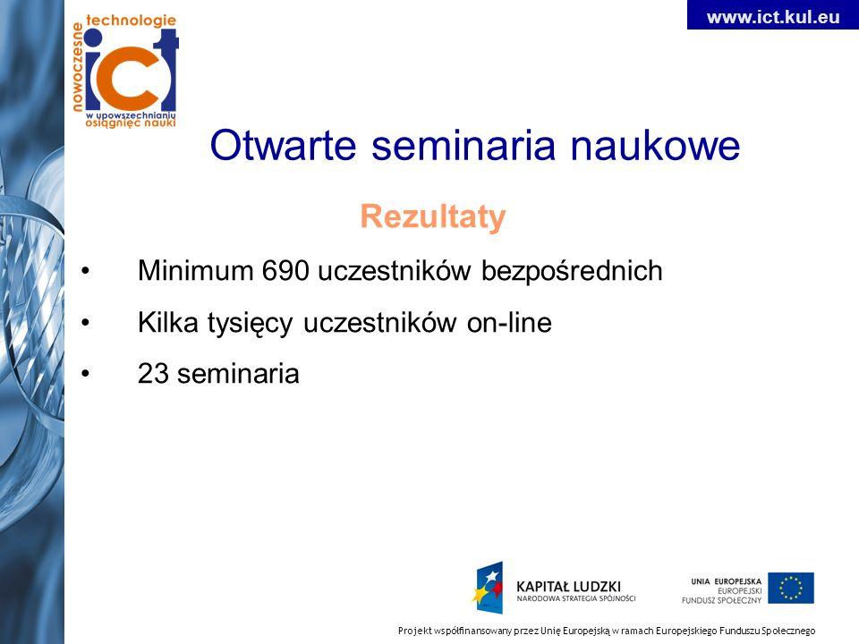 Projekt współfinansowany przez Unię Europejską w ramach Europejskiego Funduszu Społecznego www.ict.kul.eu Otwarte seminaria naukowe Rezultaty Minimum 690 uczestników bezpośrednich Kilka tysięcy uczestników on-line 23 seminaria