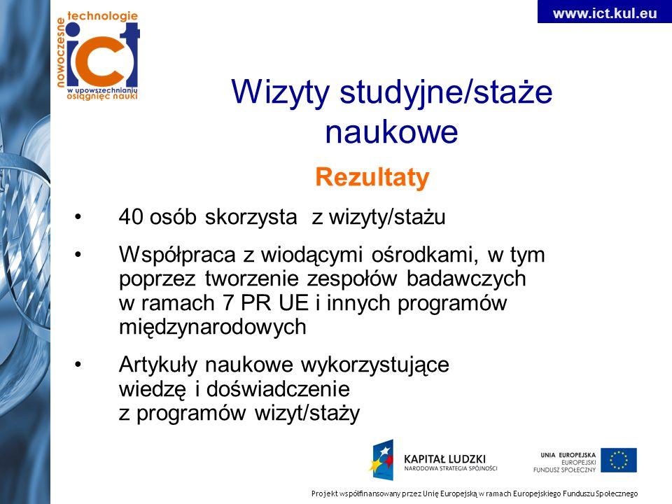 Projekt współfinansowany przez Unię Europejską w ramach Europejskiego Funduszu Społecznego www.ict.kul.eu Wizyty studyjne/staże naukowe Rezultaty 40 o