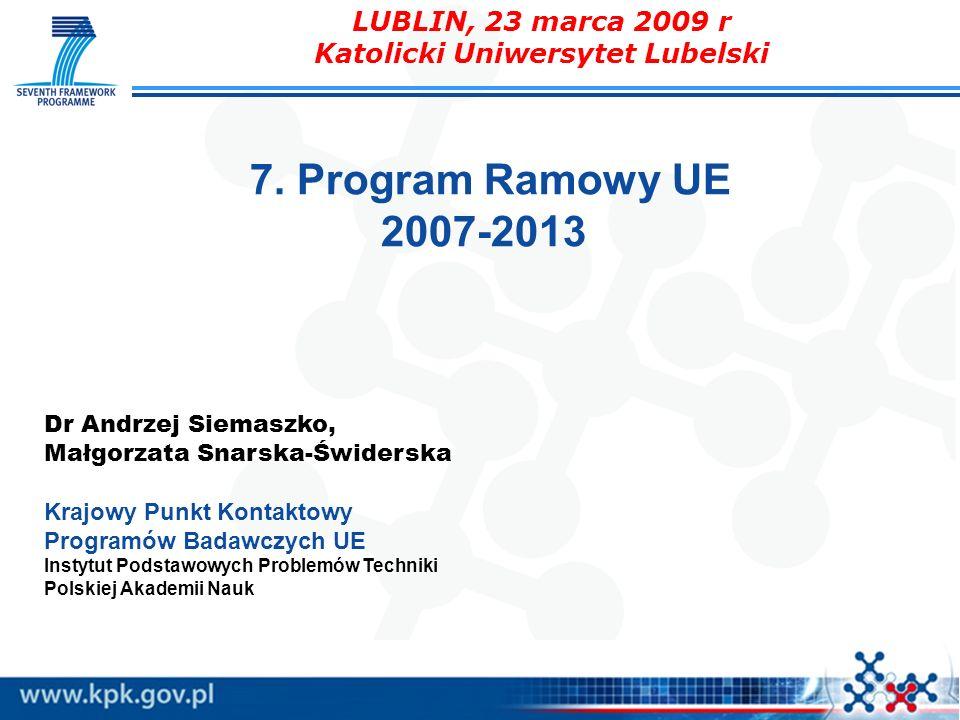 7. Program Ramowy UE 2007-2013 Dr Andrzej Siemaszko, Małgorzata Snarska-Świderska Krajowy Punkt Kontaktowy Programów Badawczych UE Instytut Podstawowy