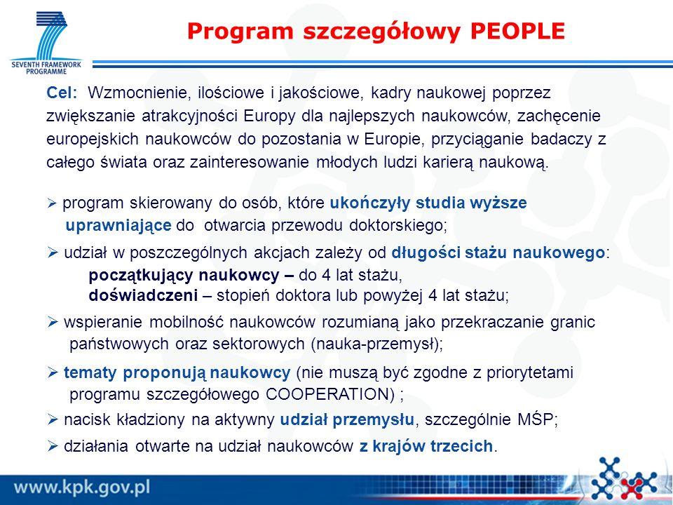 Program szczegółowy PEOPLE Cel: Wzmocnienie, ilościowe i jakościowe, kadry naukowej poprzez zwiększanie atrakcyjności Europy dla najlepszych naukowców