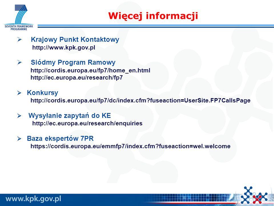 Krajowy Punkt Kontaktowy http://www.kpk.gov.pl Siódmy Program Ramowy http://cordis.europa.eu/fp7/home_en.html http://ec.europa.eu/research/fp7 Konkursy http://cordis.europa.eu/fp7/dc/index.cfm?fuseaction=UserSite.FP7CallsPage Wysyłanie zapytań do KE http://ec.europa.eu/research/enquiries Baza ekspertów 7PR https://cordis.europa.eu/emmfp7/index.cfm?fuseaction=wel.welcome Więcej informacji