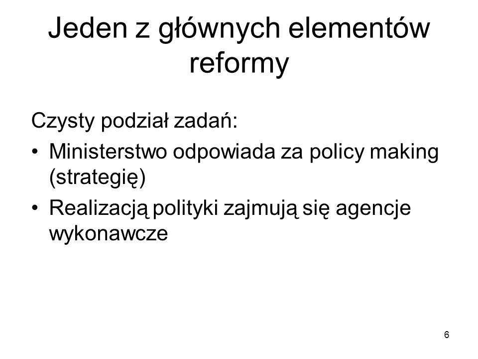 Jeden z głównych elementów reformy 6 Czysty podział zadań: Ministerstwo odpowiada za policy making (strategię) Realizacją polityki zajmują się agencje