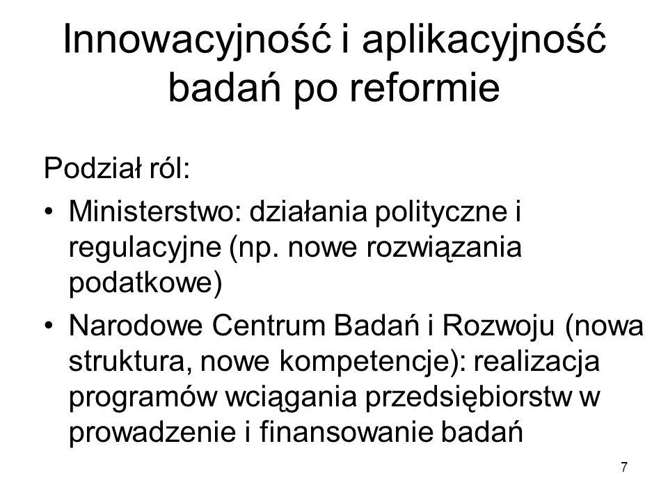 Innowacyjność i aplikacyjność badań po reformie 7 Podział ról: Ministerstwo: działania polityczne i regulacyjne (np. nowe rozwiązania podatkowe) Narod