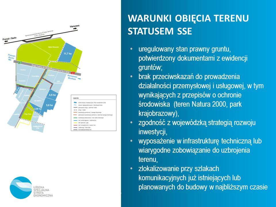 * WARUNKI OBIĘCIA TERENU STATUSEM SSE uregulowany stan prawny gruntu, potwierdzony dokumentami z ewidencji gruntów; brak przeciwskazań do prowadzenia