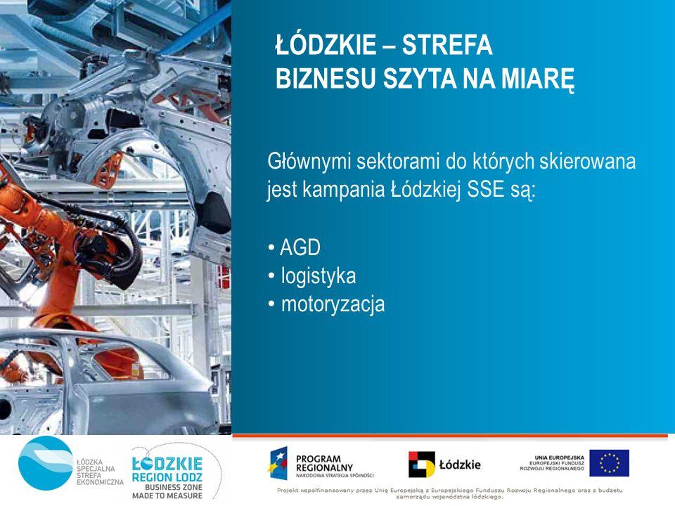 Głównymi sektorami do których skierowana jest kampania Łódzkiej SSE są: AGD logistyka motoryzacja ŁÓDZKIE – STREFA BIZNESU SZYTA NA MIARĘ