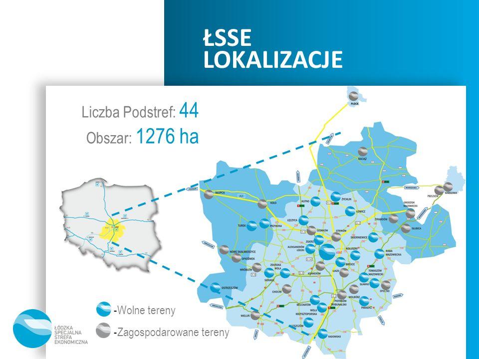 ŁSSE LOKALIZACJE Liczba Podstref: 44 Obszar: 1276 ha -Wolne tereny -Zagospodarowane tereny