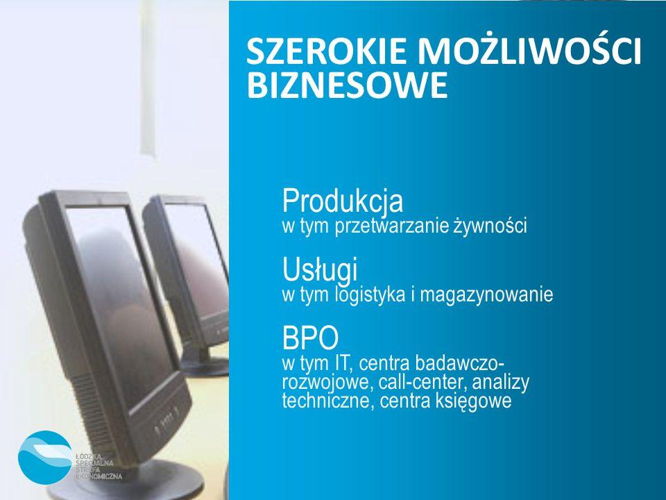 Produkcja w tym przetwarzanie żywności Usługi w tym logistyka i magazynowanie BPO w tym IT, centra badawczo- rozwojowe, call-center, analizy techniczn