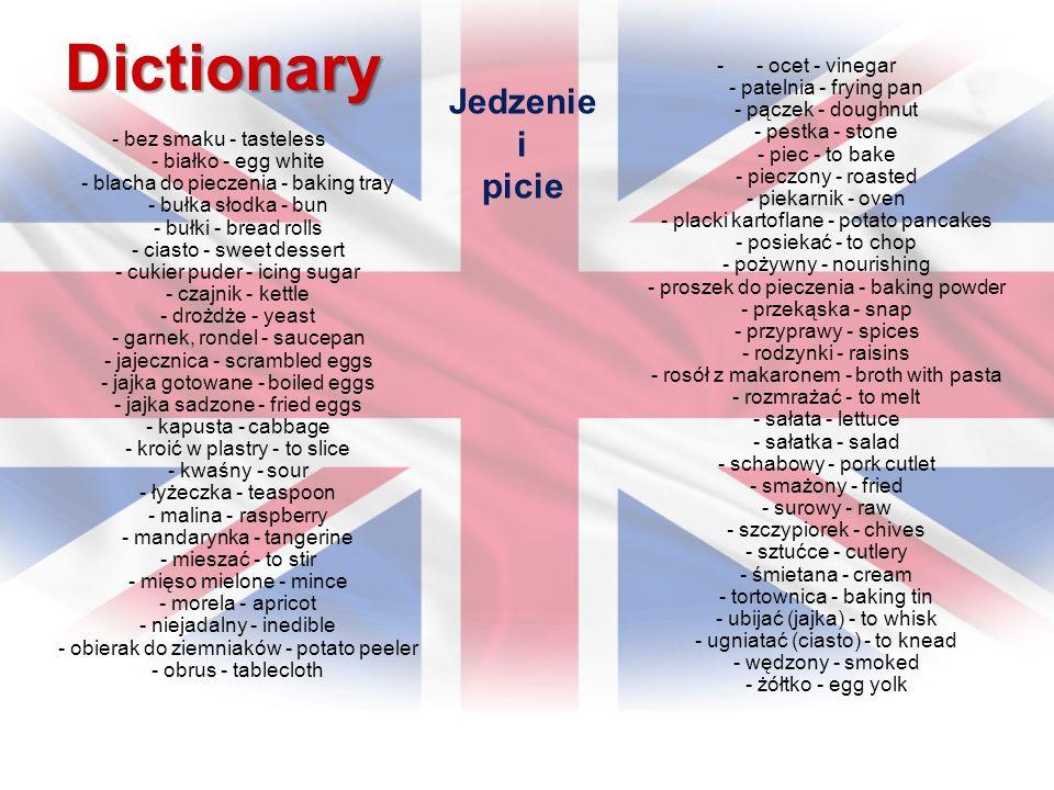 Dictionary - bez smaku - tasteless - białko - egg white - blacha do pieczenia - baking tray - bułka słodka - bun - bułki - bread rolls - ciasto - swee