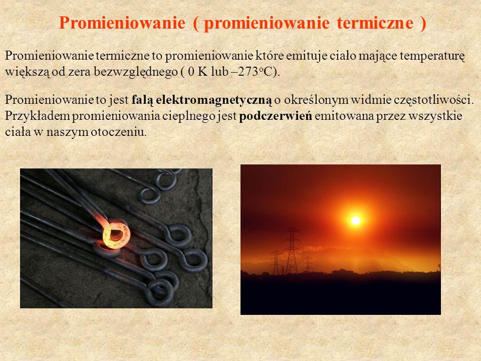 Promieniowanie ( promieniowanie termiczne ) Promieniowanie termiczne to promieniowanie które emituje ciało mające temperaturę większą od zera bezwzględnego ( 0 K lub –273 o C).