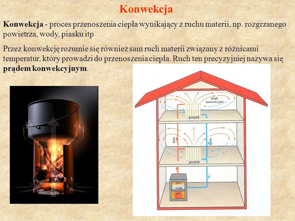 Konwekcja Konwekcja - proces przenoszenia ciepła wynikający z ruchu materii, np.