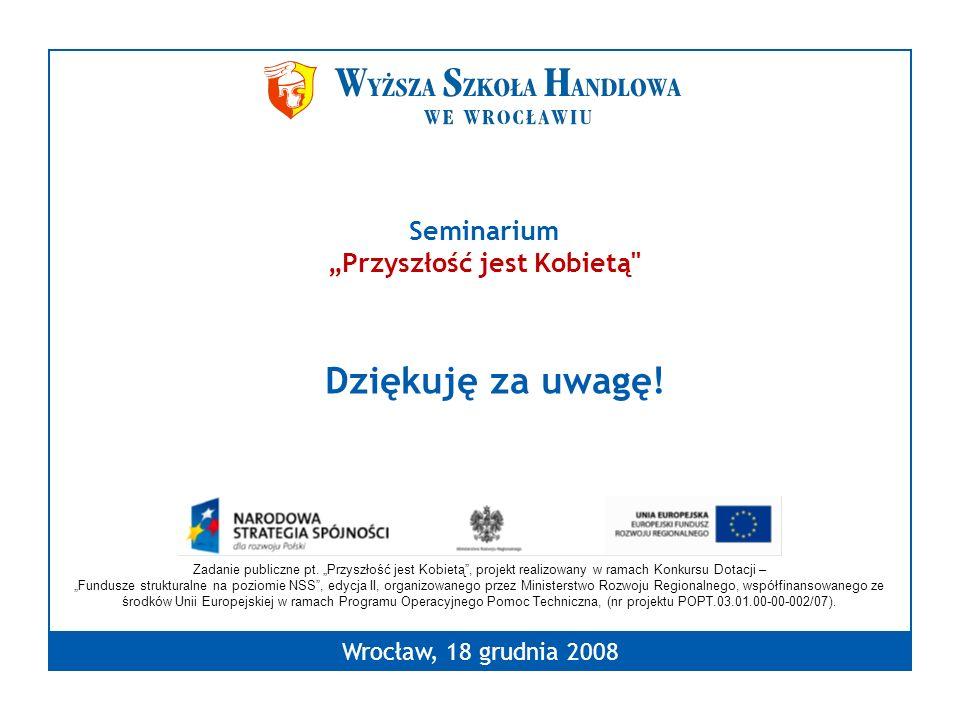 Dziękuję za uwagę! Wrocław, 18 grudnia 2008 Seminarium Przyszłość jest Kobietą