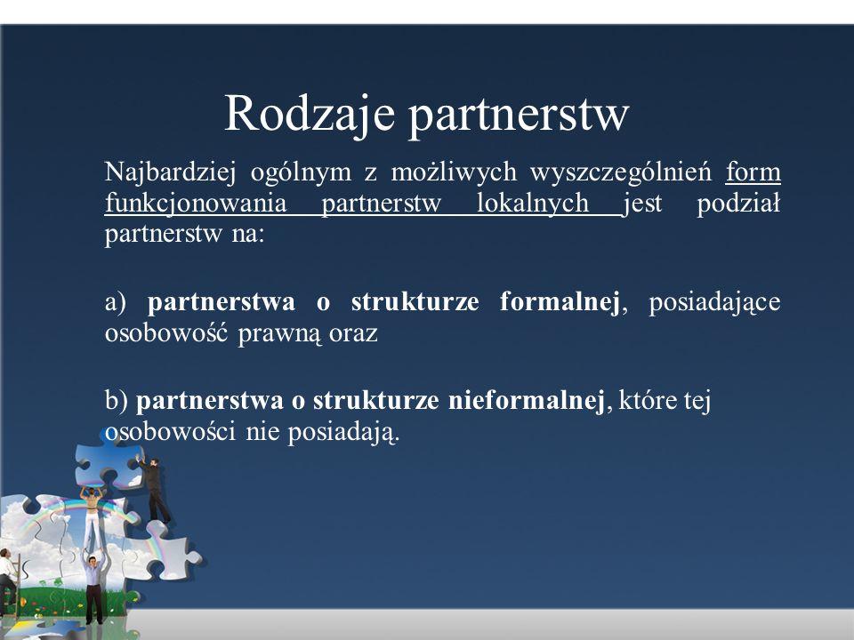 Rodzaje partnerstw Najbardziej ogólnym z możliwych wyszczególnień form funkcjonowania partnerstw lokalnych jest podział partnerstw na: a) partnerstwa