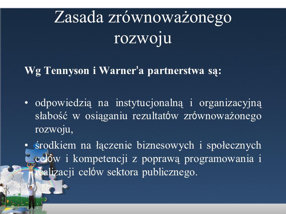 Zasada zrównoważonego rozwoju Wg Tennyson i Warner a partnerstwa są: odpowiedzią na instytucjonalną i organizacyjną słabość w osiąganiu rezultat ó w z