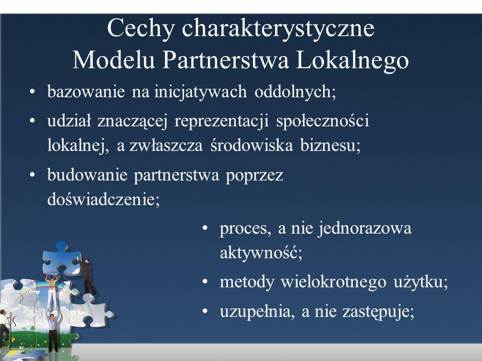 Cechy charakterystyczne Modelu Partnerstwa Lokalnego bazowanie na inicjatywach oddolnych; udział znaczącej reprezentacji społeczności lokalnej, a zwła