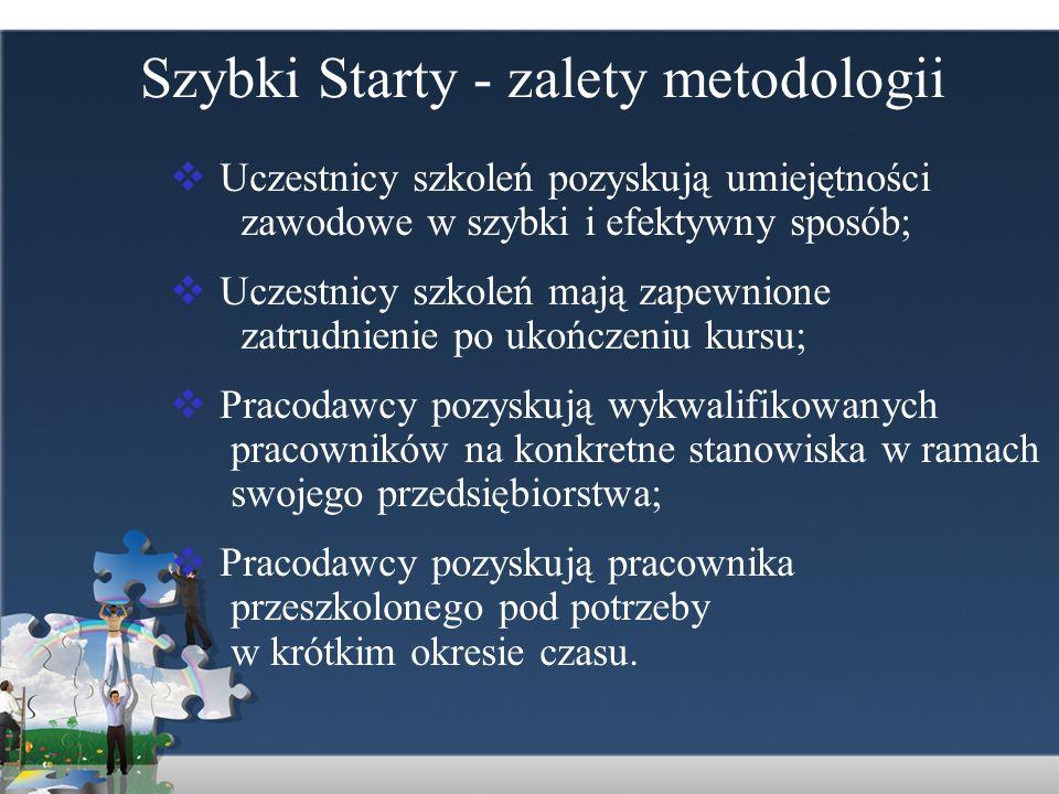 Szybki Starty - zalety metodologii Uczestnicy szkoleń pozyskują umiejętności zawodowe w szybki i efektywny sposób; Uczestnicy szkoleń mają zapewnione