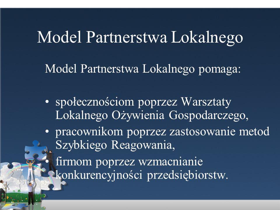 Model Partnerstwa Lokalnego Model Partnerstwa Lokalnego pomaga: społecznościom poprzez Warsztaty Lokalnego Ożywienia Gospodarczego, pracownikom poprze