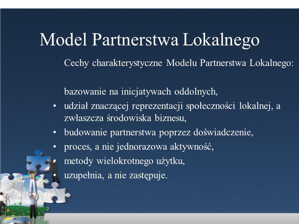 Model Partnerstwa Lokalnego Cechy charakterystyczne Modelu Partnerstwa Lokalnego: bazowanie na inicjatywach oddolnych, udział znaczącej reprezentacji