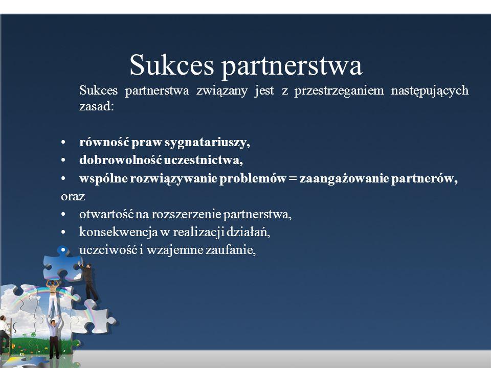 Sukces partnerstwa Sukces partnerstwa związany jest z przestrzeganiem następujących zasad: równość praw sygnatariuszy, dobrowolność uczestnictwa, wspó