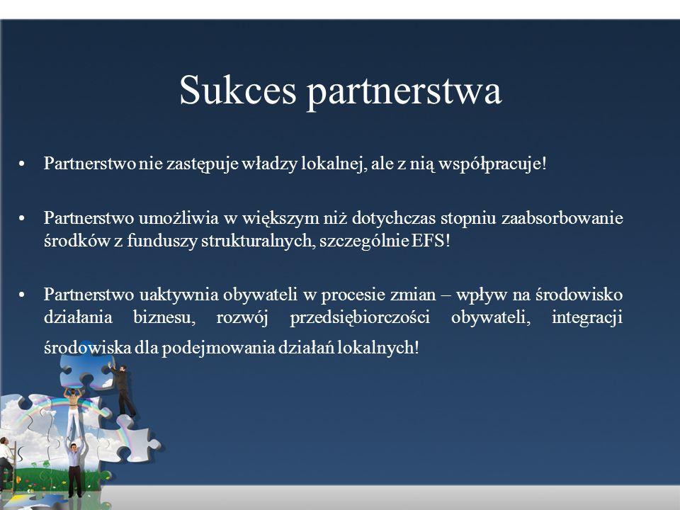 Sukces partnerstwa Partnerstwo nie zastępuje władzy lokalnej, ale z nią współpracuje! Partnerstwo umożliwia w większym niż dotychczas stopniu zaabsorb