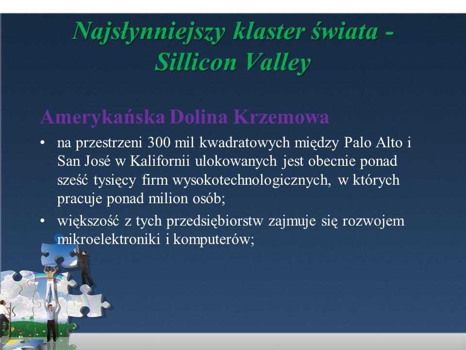 Najsłynniejszy klaster świata - Sillicon Valley Amerykańska Dolina Krzemowa na przestrzeni 300 mil kwadratowych między Palo Alto i San José w Kaliforn