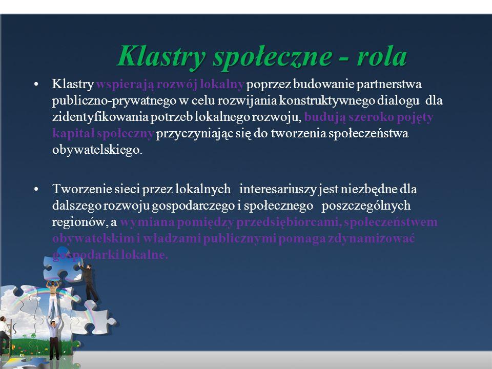 Klastry społeczne - rola Klastry wspierają rozwój lokalny poprzez budowanie partnerstwa publiczno-prywatnego w celu rozwijania konstruktywnego dialogu