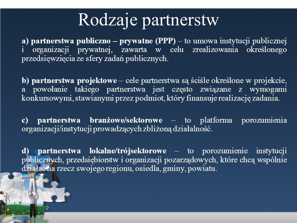 Rodzaje partnerstw a) partnerstwa publiczno – prywatne (PPP) – to umowa instytucji publicznej i organizacji prywatnej, zawarta w celu zrealizowania ok