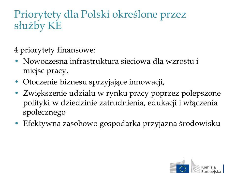 Priorytety dla Polski określone przez służby KE 4 priorytety finansowe: Nowoczesna infrastruktura sieciowa dla wzrostu i miejsc pracy, Otoczenie bizne