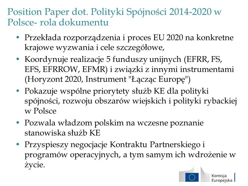 Inwestycje na lata 2014-2020 a cele Europy 2020 Główne cele Europa 2020Obecna sytuacja w PolsceKrajowy cel określony w Krajowym Programie Reform 3% wydatków na badania i rozwój (w stosunku do PKB) 0,77% (2011)1,7 % 20% zmniejszenie emisji gazów cieplarnianych (w stosunku do 1990r) -4,5% (2020 w stosunku do 2005) +12% (emisja 2010 w stosunku do 2005) 14% (krajowy cel dla sektorów nie objetych ETS, w stosunku do 2005) 20% energii z OZE9,4% (2010)15% 20% zwiększenie wydajności energetycznej 96,9 Mtoe (2010)96 Mtoe: zmniejszenie o 13,6 Mtoe 75% ludzi w wieku 20-64 zatrudnionych 64,8% (2010)71% Zredukowanie wczesnego porzucania szkoły do 10% 5,4% (2010)4,5% Co najmniej 40% ludności w wieku 30- 34 lat ma wyższe wyksztalcenie 35,3% (2010)45% Zmniejszenie liczby ludzi zagrożonych ubóstwem lub wykluczeniem o 20 milionów (w stosunku do 2008r.) 10,4 miliona ludzi zagrożonych ubóstwem (2010) 1,5 miliona ludzi w stosunku do roku 2010