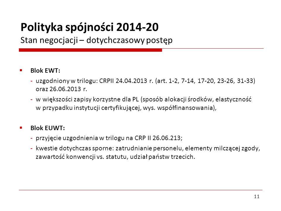 Blok EWT: -uzgodniony w trilogu: CRPII 24.04.2013 r. (art. 1-2, 7-14, 17-20, 23-26, 31-33) oraz 26.06.2013 r. -w większości zapisy korzystne dla PL (s