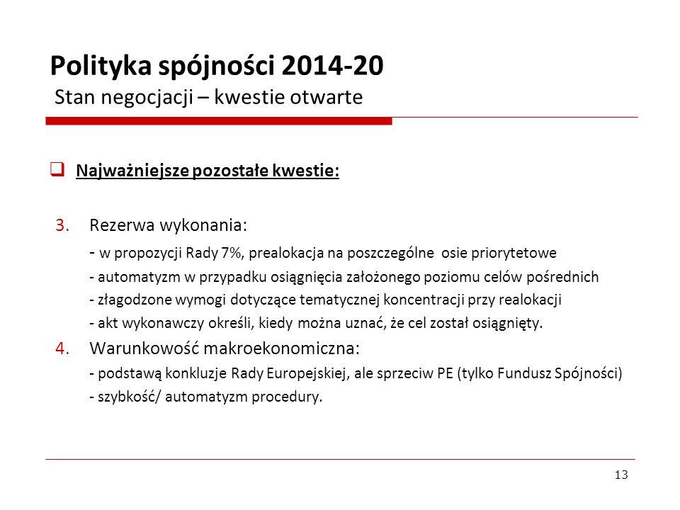 Najważniejsze pozostałe kwestie: 3.Rezerwa wykonania: - w propozycji Rady 7%, prealokacja na poszczególne osie priorytetowe - automatyzm w przypadku o