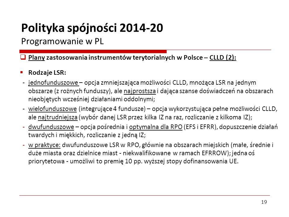 Plany zastosowania instrumentów terytorialnych w Polsce – CLLD (2): Rodzaje LSR: - jednofunduszowe – opcja zmniejszająca możliwości CLLD, mnożąca LSR