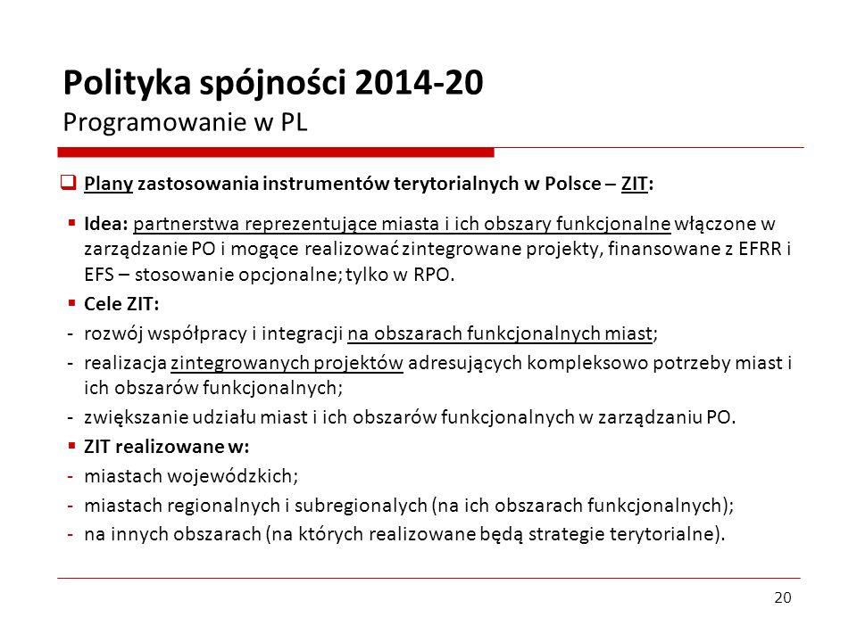 Plany zastosowania instrumentów terytorialnych w Polsce – ZIT: Idea: partnerstwa reprezentujące miasta i ich obszary funkcjonalne włączone w zarządzan