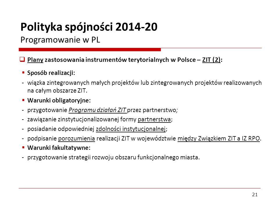 Plany zastosowania instrumentów terytorialnych w Polsce – ZIT (2): Sposób realizacji: - wiązka zintegrowanych małych projektów lub zintegrowanych proj