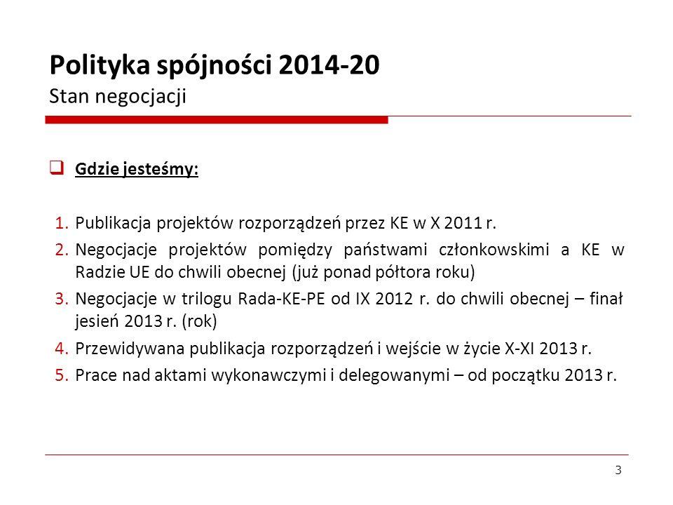 Gdzie jesteśmy: 1.Publikacja projektów rozporządzeń przez KE w X 2011 r. 2.Negocjacje projektów pomiędzy państwami członkowskimi a KE w Radzie UE do c