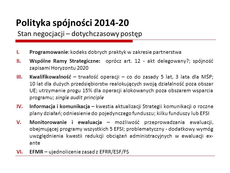 I.Programowanie: kodeks dobrych praktyk w zakresie partnerstwa II.Wspólne Ramy Strategiczne: oprócz art. 12 - akt delegowany?; spójność zapisami Horyz
