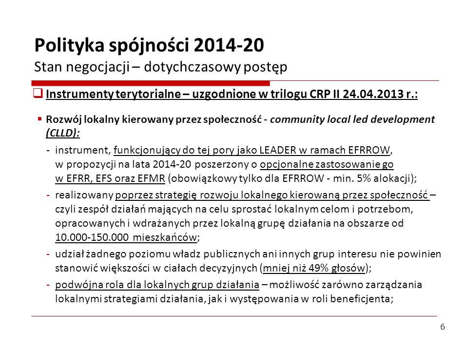Rozwój lokalny kierowany przez społeczność - CLLD (2): -mogą być realizowane w ramach jednego bądź kilku priorytetów inwestycyjnych; -I-sza runda wyboru strategii w ciągu 2 lat od zatwierdzenia UP z możliwością wyboru kolejnych strategii w terminach późniejszych max.