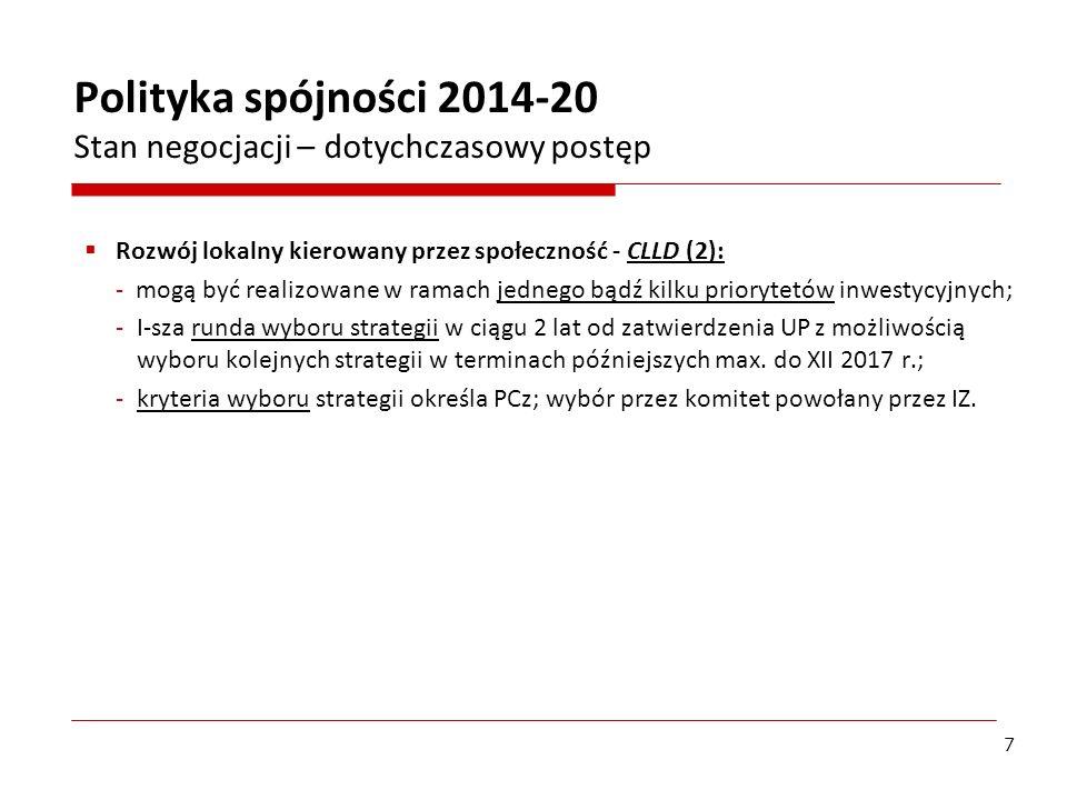 Plany zastosowania instrumentów terytorialnych w Polsce – CLLD: Oczekiwania KE: - zintegrowane podejście oddolne w odpowiedzi na wyzwania terytorialne i lokalne przez zaangażowanie lokalnych społeczności; - instrument przyczyniający się do: rewitalizacji fizycznej, gospodarczej i społecznej ubogich społeczności miejskich i wiejskich.