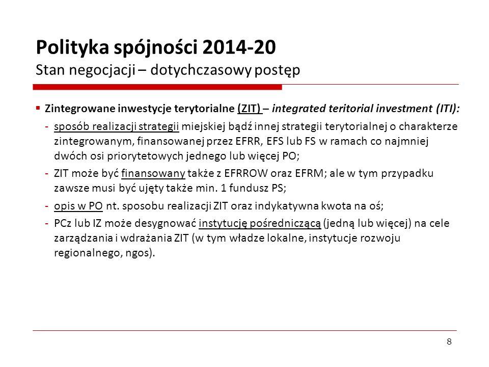 Plany zastosowania instrumentów terytorialnych w Polsce – CLLD (2): Rodzaje LSR: - jednofunduszowe – opcja zmniejszająca możliwości CLLD, mnożąca LSR na jednym obszarze (z rożnych funduszy), ale najprostsza i dająca szanse doświadczeń na obszarach nieobjętych wcześniej działaniami oddolnymi; - wielofunduszowe (integrujące 4 fundusze) – opcja wykorzystująca pełne możliwości CLLD, ale najtrudniejsza (wybór danej LSR przez kilka IZ na raz, rozliczanie z kilkoma IZ); -dwufunduszowe – opcja pośrednia i optymalna dla RPO (EFS i EFRR), dopuszczenie działań twardych i miękkich, rozliczanie z jedną IZ; -w praktyce: dwufunduszowe LSR w RPO, głównie na obszarach miejskich (małe, średnie i duże miasta oraz dzielnice miast - niekwalifikowane w ramach EFRROW); jedna oś priorytetowa - umożliwi to premię 10 pp.